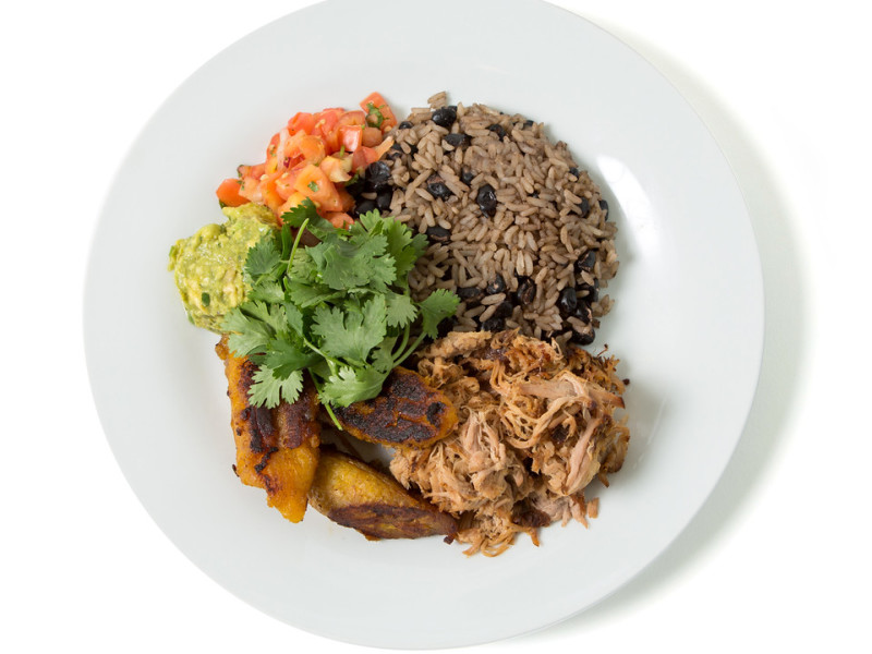 Rice, Beans & Plantains with Cumin Crusted Pork